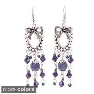 Antiqued SIlver Beaded Ribbon Chandelier Earrings