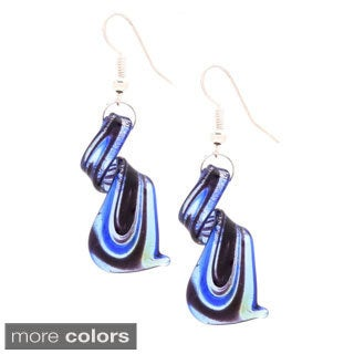 Blue/ Silvertone Murano Inspired Glass Twist Earrings