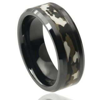 Vance Co. Men's Ceramic Camouflage Inlay Band