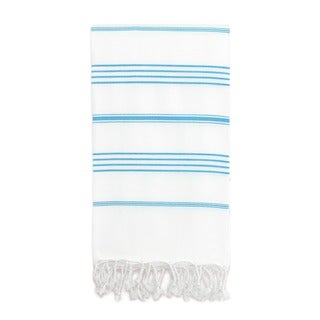 Authentic Pestemal Fouta Original White and Turquoise Blue Stripe Turkish Cotton Bath/ Beach Towel