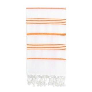 Authentic Pestemal Fouta Original White and Dark Orange Stripe Turkish Cotton Bath/ Beach Towel