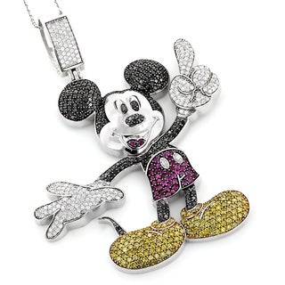 Luxurman 10k Gold 5 1/5ct TDW Color Diamond Mickey Mouse Necklace