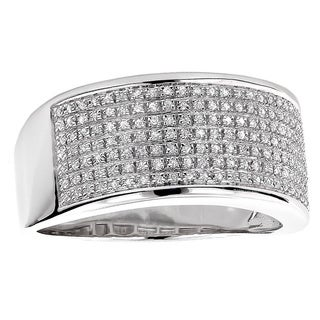 Luxurman Sterling Silver Men's 1/3ct TDW Diamond Wedding Band (H-I, SI2-SI3)