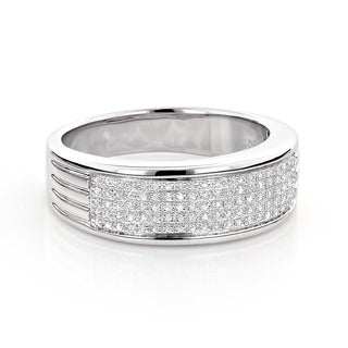 Sterling Silver 1/4ct TDW Pave Diamond Men's Band (H-I, SI1-SI2)