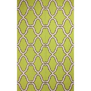 nuLOOM Hand-hooked Moroccan Trellis Wool Green Rug (8'6 x 11'6)