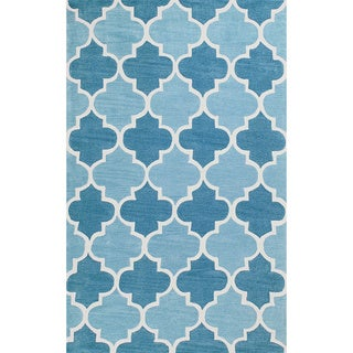 nuLOOM Hand-tufted Trellis Synthetics Blue Rug (7'6 x 9'6)