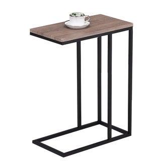 Reclaimed Wood Look Finish Black Metal Snack Table