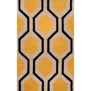 nuLOOM Hand-tufted Wool Yellow Rug (8' 6 x 11' 6 )