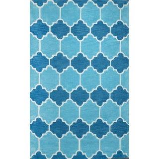 nuLOOM Hand-tufted Lattice Geometric Blue Rug (8' 6 x 11' 6)