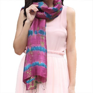Handcrafted Silk 'Orchid Illusion' Scarf (Thailand)