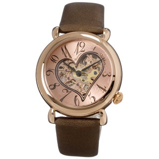 Stuhrling Original Woman's Cupid Two Automatic Leather Strap Watch Set