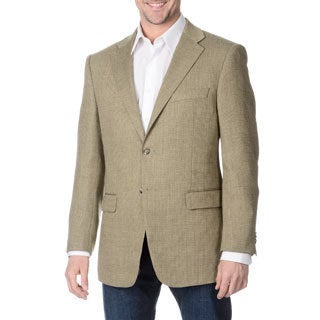 Prontomoda Italia Men's 'Super 140' Sage Natural Stretch Wool Jacket