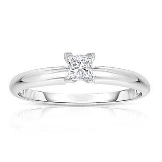 14k White Gold 1/4ct TDW Princess Solitaire Diamond Engagement Ring (H-I, I2-I3)