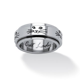 PalmBeach Cat Lady Spinner Ring in Black IP Stainless Steel Tailored