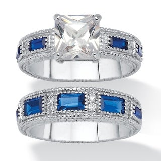 PalmBeach Cubic Zirconia and Blue Crystal Bridal Set Classic CZ