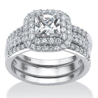 PalmBeach Platinum Over Silver 2.14ct TGW Cubic Zirconia 3-piece Ring Set Glam CZ
