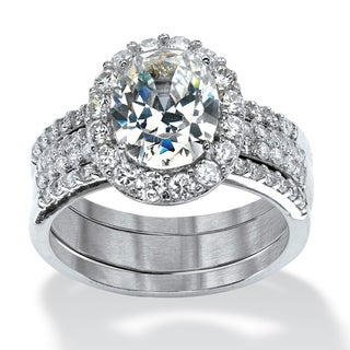 PalmBeach 3 Piece 3.72 TCW Oval-Cut Cubic Zirconia Halo Bridal Ring Set in Platinum over Sterling Silver Glam CZ