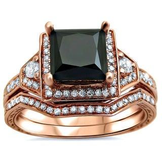 Noori 14k Rose Gold 2ct TDW Black Princess-cut Diamond 2-piece Bridal Set (G-H, SI1-SI2)
