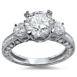 Noori 18k White Gold Enhanced 2 1/4ct TDW 3-stone Round Diamond Engagement Ring (G-H, SI1-SI2)