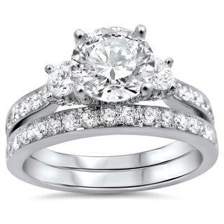 Noori 18k White Gold 2ct TDW Round Diamond Bridal Set (G-H, SI1-SI2)