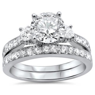 Noori 18k Gold Enhanced 1 3/4ct TDW Round 3-stone Diamond Bridal Set (G-H, SI1-SI2)