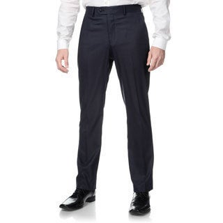 Perry Ellis Men's Slim Fit Navy Sharkskin Flat Front Dress Pants