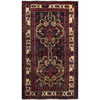 Semi-Antique Afghan Hand-Knotted Tribal Balouchi Navy/ Tan Wool Rug (2'10 x 4'11)