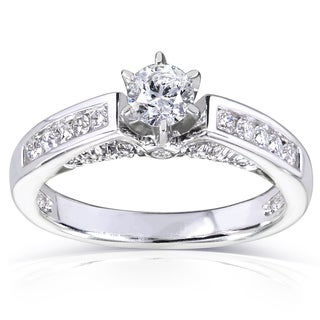 Annello 14k White Gold 1/2ct TDW Round Diamond Channel Engagement Ring (H-I, I1-I2)