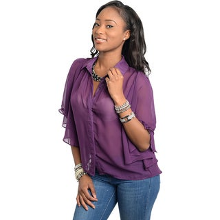 Stanzino Women's Purple Bell Sleeve Chiffon Blouse