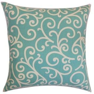 Faya Swirls Down Fill Throw Pillow Aqua