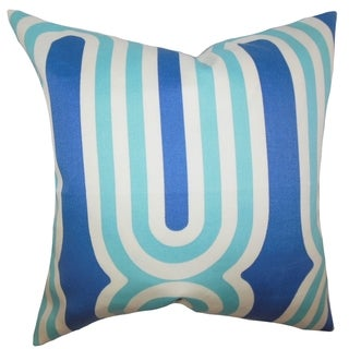 Persis Geometric Feather and Down Filled Throw Pillow Blue