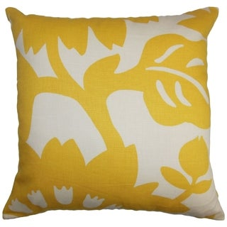 Fayre Yellow Floral Down Filled Throw Pillow
