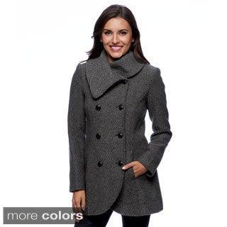 Jessica Simpson Women's Charcoal Basketweave Wool Blend Coat
