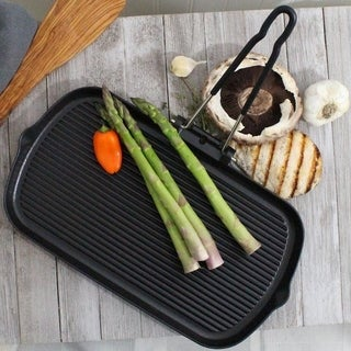 Chasseur French Cast Iron Black Rectangular Grill by French Home with Folding Handle