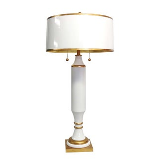 White/ Gold 2-light Tall Table Lamp