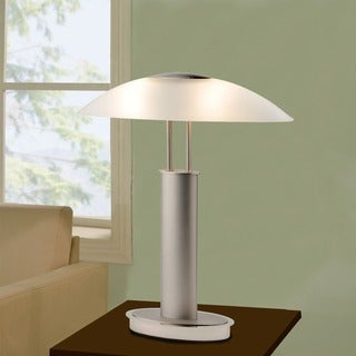 Artiva USA Avalon Modern 2-tone Table Lamp with Oval Canoe-shaped Frosted Glass Shade and 3-way Touch Switch