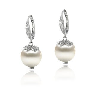 Glitzy Rocks Sterling Silver Diamond Accent Freshwater Cultured Pearl Petals Drop Earrings