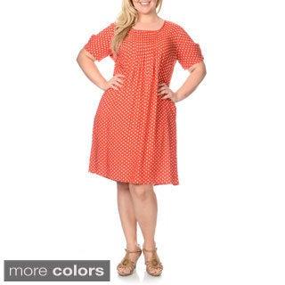 La Cera Women's Plus Size Polka Dot Print Dress