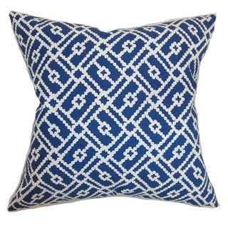 Majkin Blue Geometric Down Filled Throw Pillow