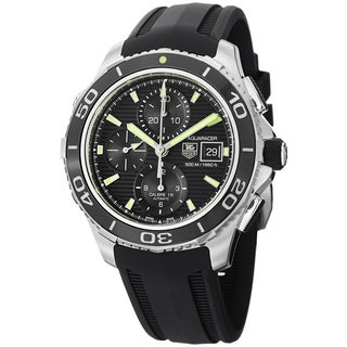 Tag Heuer Men's CAK2111.FT8019 'Aquaracer500' Black Dial Black Rubber Strap Watch