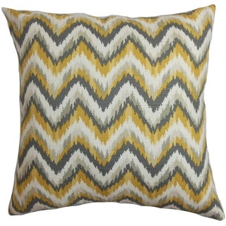 Perdita Zigzag Yellow Grey Feather and Down Filled Throw Pillow