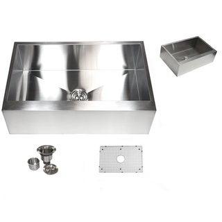 30-inch Stainless Steel Farmhouse Single Bowl Flat Apron Kitchen Sink 16 Gauge Basket Strainer / Gri