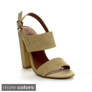 X2B Fay-1 Women's Buckle Ankle Strap Chunky Heel Sandals