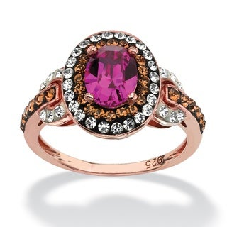 PalmBeach Jewelry Rose-plated Sterling Silver Fuchsia Crystal Ring made with Swarovski Elements Color Fun