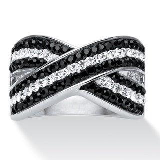 PalmBeach Jewelry Platinum-plated Pave Jet Black and Crystal Crossover Ring made with Swarovski Elem Color Fun