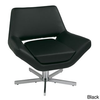 Modern Faux Leather Wide Seat Lounge Chair