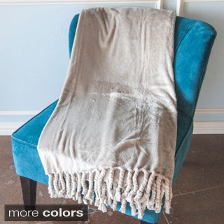 Grand Bazaar Carlisle Microplush Throw Blanket with Chunky Twisted Fringe