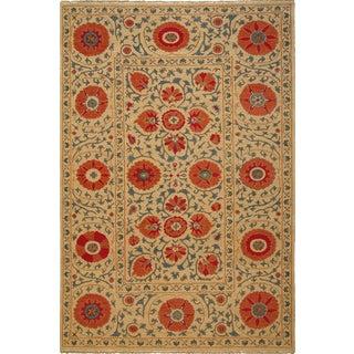 Hand-woven Indo Suzani Tan/ Coral Wool Area Rug (3' x 5')