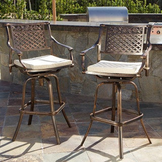 Christopher Knight Home Sebastian Cast Aluminum Barstool with Cushions (Set of 2)