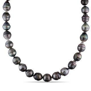 Miadora 14k White Gold Tahitian Pearl Necklace (10-13 mm)